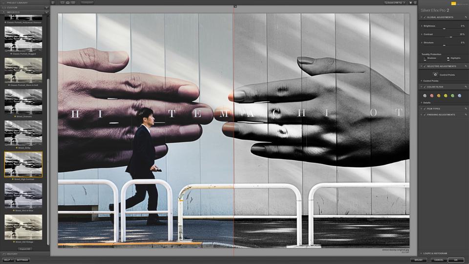 İki elini gösteren bir tabelanın önünden koşan bir adamı gösteren fotoğraftan ekran görüntüsü