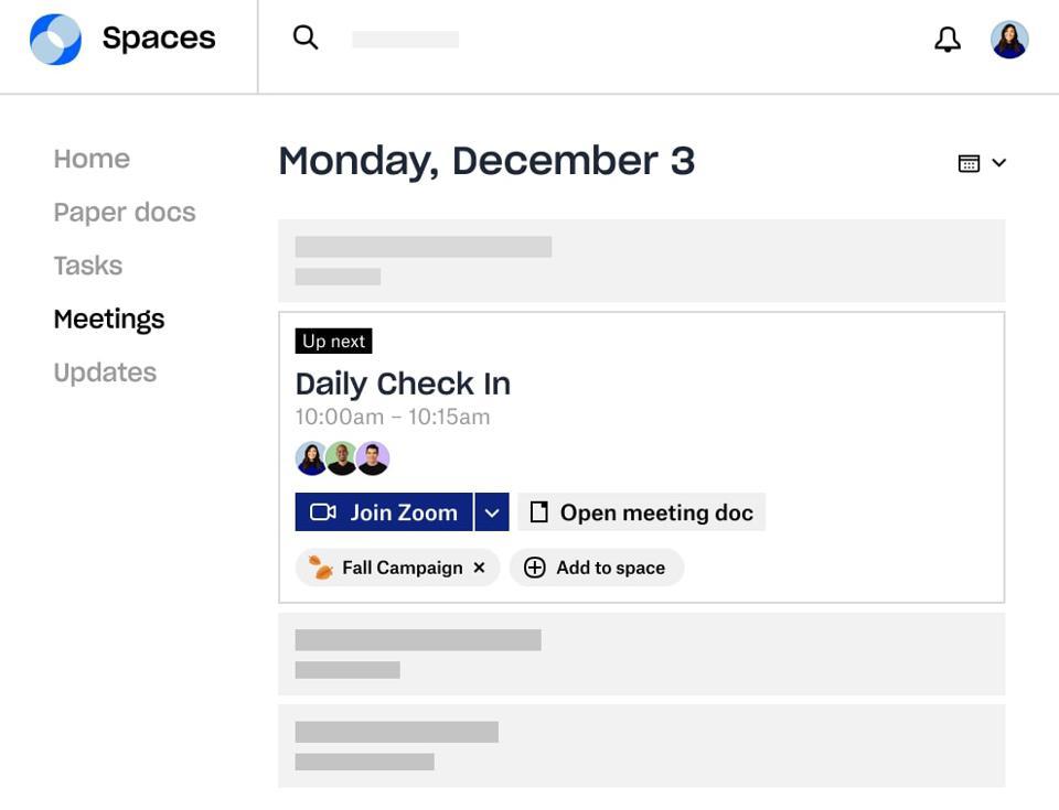 Dropbox Spaces 2.0 toplantı ekran görüntüsü