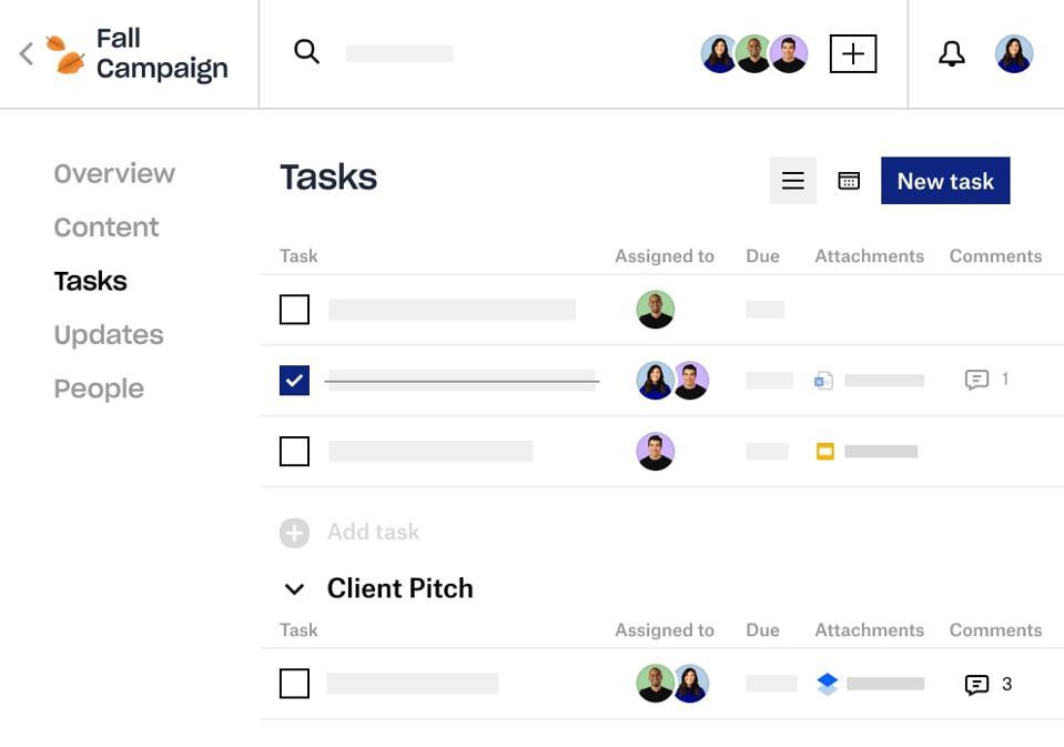 Dropbox Spaces 2.0 ekran görüntüsü görevleri gösteriyor