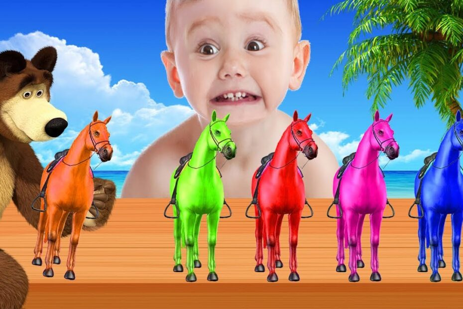 Learn Colors With Horse Finger Family Rhymes For Kids - Colours With Animals For Children