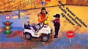 Arel, Yaman Polisten Trafik Kurallarını Öğreniyor ! - Akülü Araba - Eğlenceli Çocuk Videosu !