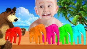 Learn Colors With Elephant Cartoon Finger Family Rhymes For Kids - Colours With Animals For Children