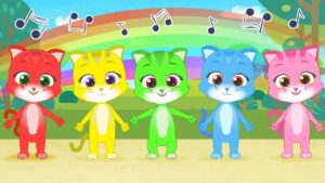 FINGER FAMILY with colorful Cats 😻🌈 The Kitty Family 😺 Children's songs