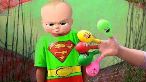 Boss Baby vs Keysha Play Filling Water in Balloons Daddy Finger Nursery Rhymes | Finger Family
