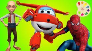 Örümcek Adam Harika Kanatlar Keloğlan Boyama. Çocuklar için Renkleri Öğreten Çizgi Film