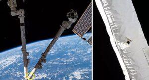 Bir parça uzay çöpü düştükten sonra Uluslararası Uzay İstasyonunun robot kolunda bir delik açıldı.
